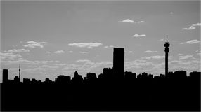 City skyline silhouette. A silhouette of the Johannesburg city skyline in South Africa, the location of the next football world cup Stock Images