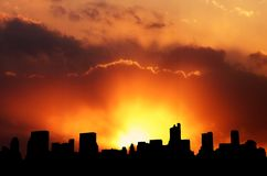 Free City Skyline Silhouette Stock Images - 620384