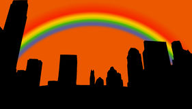 City skyline silhouette. During sunset colorsorange sky with rainbow Royalty Free Stock Images