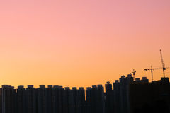 City skyline silhouette. Hong Kong city skyline silhouette, taken in sunset Stock Images