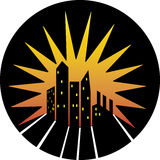 City skyline silhouette icon Stock Photography
