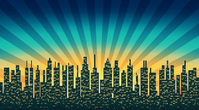City skyline silhouette with illuminated Windows in the background of the shining sky stock illustration