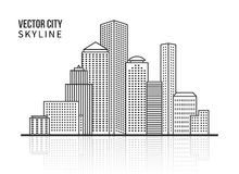 City skyline silhouette in line style Royalty Free Stock Photo