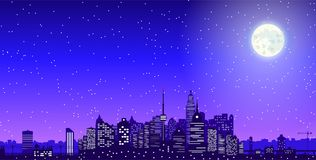 City skyline silhouette at night. City skyline silhouette at dusk. Skyscappers, towers, office and residental buildings. Cityscape under night sky and moon Royalty Free Stock Photos