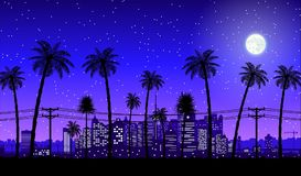 City skyline silhouette at night. City skyline silhouette at dusk. Skyscappers, towers, office and residental buildings. Cityscape under night sky, moon and palm Stock Photo