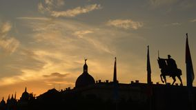 City skyline silhouette. This silhouette skyline shows a statue dedicated to king Tomislav. Tomislav was a ruler of Croatia in the Middle ages. He reigned from royalty free stock photography