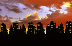City skyline silhouettes Royalty Free Stock Image