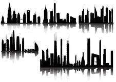 City Skyline and Silhouettes Royalty Free Stock Image
