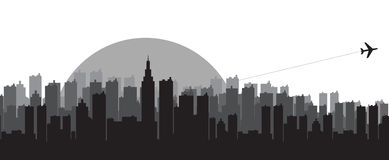 City skyline silhouettes. Black sunset mode of city skyline silhouettes Royalty Free Stock Image