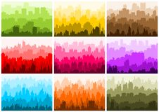 City skyline silhouettes set. Nine colorful vector banner Royalty Free Stock Photography