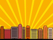 City skyline. Simple city illustration - skyscrapers and modern buildings. Contemporary metropolis and urban landscape. Sunset skyline Royalty Free Stock Images