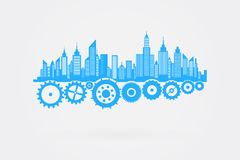 City Skyline Skyscrapers On Cog Wheels Stock Images