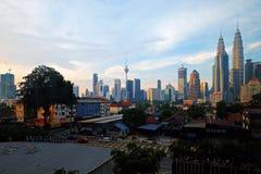 City skyline sunrise golden hour lights. Stock Images