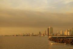 City-skyline-before-sunset. Manila Philippines, city skyline view from manila bay Royalty Free Stock Photo