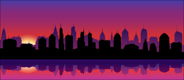 City Skyline (Sunset) Stock Photography