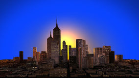 A city skyline at sunset Royalty Free Stock Images