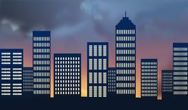 City skyline at sunset Royalty Free Stock Photography