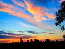 City skyline at sunset Royalty Free Stock Photos