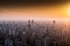 The city skyline in sunset Royalty Free Stock Photos
