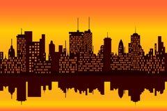 City skyline at sunset or sunrise Stock Photos