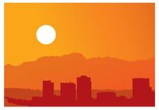 City skyline at sunset Stock Photography