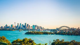 The city skyline of Sydney, Australia. Circular Quay and Opera House.  royalty free stock photography