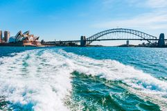 The city skyline of Sydney, Australia. Harbour bridge Circular Quay and Opera House. The city skyline of Sydney, Australia. Circular Quay and Opera House royalty free stock photos