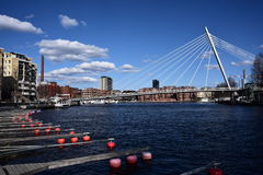 City skyline. Tampere city center, bridge ,finland, clear spring afternoon Royalty Free Stock Photo