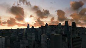 City skyline and time lapse sunset, helicopter view. City skyline and timelapse sunset, helicopter view stock footage