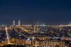 City Skyline from the top of Barcelona. Night Skyline from the top of Barcelona city. Lights, architecture, buildings and much more stock photography