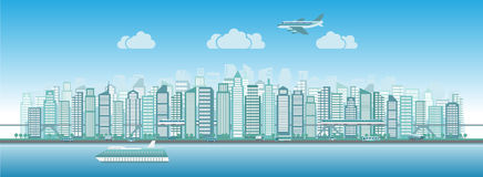 City skyline with traffic of various vehicles train airplane car ship in flat style, cityscape