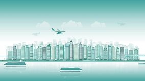 City skyline with traffic of various vehicles train airplane car ship in flat style, cityscape, seamless loop. The concept of the modern city, the intense stock video footage