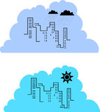 City skyline. Two examples of a city skyline, with different tones to illustrate a sunny and a rainy day Royalty Free Stock Photography