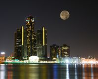 City skyline under moonlight. Moonlight over detroit skyline waterfront Royalty Free Stock Photo