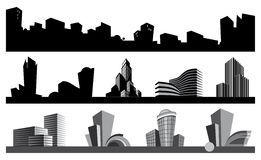 City skyline and urban icons. Vector images of abstract architectural objects Stock Images