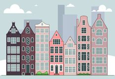 City skyline vector illustration. Daytime cityscape in flat style. City skyline vector illustration. Urban landscape. Daytime cityscape in flat style royalty free illustration
