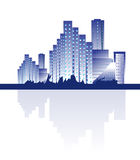 City Skyline. Vector illustration of a city with its shadow on a white background Royalty Free Stock Images