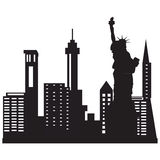 City skyline. Vector illustration of city skyline night. Black city silhouette. New York city skyline with liberty statue Stock Image