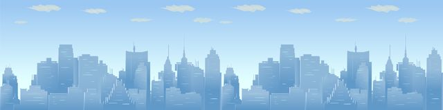 City skyline vector illustration. Urban Panorama, daytime cityscape in flat style Stock Photos