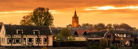 City skyline view of Leerdam the netherlands at sunset, a typical dutch city. A City skyline view of Leerdam the netherlands at sunset, a typical dutch city royalty free stock photography