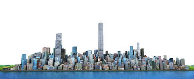 City skyline. View from sea to modern high-rise buildings. 3d il Royalty Free Stock Image