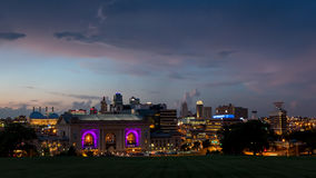 City skyline view of Union station and downtown Kansas City Missouri. Royalty Free Stock Photos