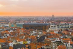 City skyline of Vlissingen at sunset, a popular city at sea in Zeeland, The Netherlands stock photo
