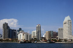 City Skyline from Water. A city skyline from the water during a sunny afternoon Stock Photography
