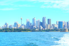 City skyline on waterfront
