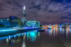 City skyline and waterfront at night Stock Photo