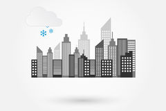 City Skyline On Winter Day Stock Image