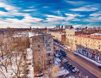 City skyline at winter sunny day time. Stock Photos