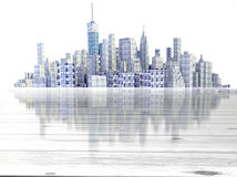 City skyline with wooden foreground Stock Photo