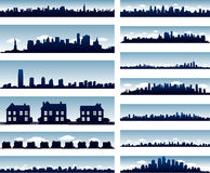 City skylines. Multiple cityscape collection, city background